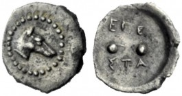 The J. FALM Collection: Miniature Masterpieces of Greek Coinage depicting Animals   Segesta  Hexas circa 410, AR 0.13 g. Hound's head r. Rev. EΓE / Σ...