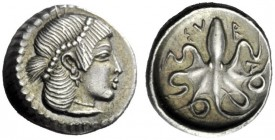 The J. FALM Collection: Miniature Masterpieces of Greek Coinage depicting Animals   Syracuse  Litra circa 474-450, AR 0.86 g. Pearl-diademed head of ...