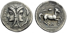 The J. FALM Collection: Miniature Masterpieces of Greek Coinage depicting Animals   Syracuse  2 litrae circa 344-317, AR 1.53 g. ΣYRAKOΣI – [ΩN] Fema...