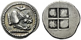 The J. FALM Collection: Miniature Masterpieces of Greek Coinage depicting Animals   Macedonia, Acanthus  Tetrobol circa 490, AR 2.49 g. Forepart of l...