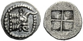 The J. FALM Collection: Miniature Masterpieces of Greek Coinage depicting Animals   Macedonia, Acanthus  Obol circa 470-390, AR 0.44 g. Bull's head r...