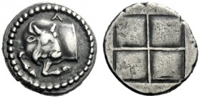 The J. FALM Collection: Miniature Masterpieces of Greek Coinage depicting Animals   Macedonia, Acanthus  Tetrobol circa 470-390, AR 2.31 g. Forepart ...