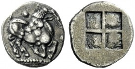 The J. FALM Collection: Miniature Masterpieces of Greek Coinage depicting Animals   Aegae  Trihemiobol circa 510-480, AR 1.02 g. Goat kneeling r., lo...