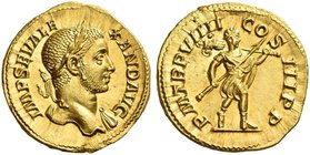 Severus Alexander, 222 – 235. Aureus 230, AV 6.11 g. IMP SEV ALE – XAND AVG Laureate bust r., with drapery on l. shoulder. Rev. P M TR P VIIII – CO – ...
