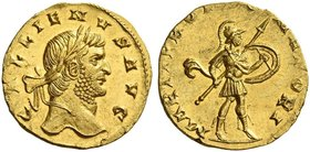 Gallienus joint reign with Valerian I, 253 – 260 and sole reign, 260 – 268. Aureus 253-268, AV 3.37 g. GALLIENVS AVG Laureate head r. Rev. MARTI PRO[P...
