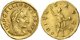 Gallienus joint reign with Valerian I, 253 – 260 and sole reign, 260 – 268. Aureus 257-258, AV 3.72 g. IMP GALLIENVS P F AVG Laureate and cuirassed bu...