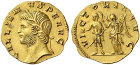 Gallienus joint reign with Valerian I, 253 – 260 and sole reign, 260 – 268. Aureus circa 265-266, AV 3.18 g. GALLIEN – VS P F AVG Head l., wearing wre...