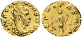 Claudius II Gothicus, 268 – 270. Light aureus, Siscia 269-270, AV 1.66 g. IMP CLAVDIVS AVG Radiate, draped and cuirassed bust r. Rev. AEQVITAS AVG Aeq...