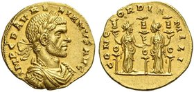 Aurelian, 270 – 275. Aureus, Siscia 271, AV 3.69 g. IMP C D AVRELIANVS AVG Laureate, draped and cuirassed bust r. Rev. CONC – ORDIA – MILI Two Concord...