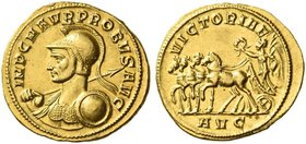 Probus, 276 – 282. Aureus, Serdica 276-282, AV 5.64 g. IMP C M AVR PROBVS AVG Helmeted and cuirassed bust l., holding spear and shield over shoulder. ...