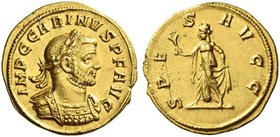 Carinus augustus, 283 – 285. Aureus, Siscia 284, AV 4.52 g. IMP C CARINVS P F AVG Laureate and cuirassed bust r., with drapery on l. shoulder. Rev. SP...