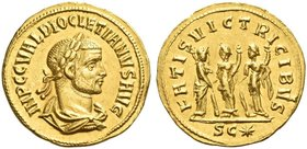 Diocletian, 284-305. Aureus, Cyzicus 286-287, AV 5.58 g. IMP C C VAL DIOCLETIANVS AVG Laureate, draped and cuirassed bust r. Rev. FATIS VICTRICIBVS Th...