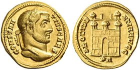 Constantius I Chlorus caesar, 293 – 305. Aureus 294-299, AV 5.44 g. CONSTAN – TIVS CAES Laureate head r. Rev. PROVIDE – NTIA AVGG Camp gate with three...