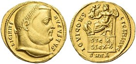 Licinius I, 308 – 324. Aureus, Nicomedia 317, celebrating the Decennalia of November 11, AV 5.24 g. LICINIVS – AVGVSTVS Laureate head r. Rev. IOVI CON...