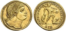 Constantine I augustus, 307 – 337. Medallion of 1 ½ solidi, Siscia 327, AV 6.83 g. Diademed head r. Rev. GLORIA CON – STANTINI AVG Emperor walking r.,...