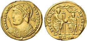 Valentinian I, 364 – 375. Solidus, Treveri 370, AV 4.42 g. D N VALENTIN – IANVS P F AVG Helmeted and cuirassed bust l., holding spear and shield on wh...