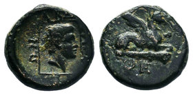 THRACE, Abdera. Circa 311-280 BC. Æ Dichalkon (13.70mm, 3.08 g, 12h). Euan-, magistrate. Gryphon crouching right on club; EYAN below / Head of Apollo ...