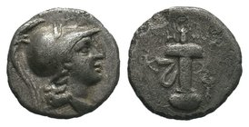 Caria, Kaunos, c. 166-150 BC. AR Hemidrachm   Condition: Very Fine  Weight: 0.95gr Diameter: 10.85mm  From a Private DUTCH Collection.