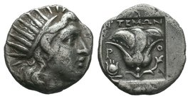 Caria. Rhodos . ΑΡΤΕΜΩΝ, magistrate 170-150 BC.Plinthophoric .Drachm AR  Condition: Very Fine  Weight: 2.77gr Diameter: 14.79mm  From a Private DUTCH ...