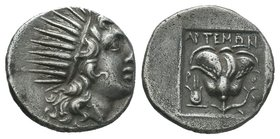 Caria. Rhodos . ΑΡΤΕΜΩΝ, magistrate 170-150 BC.Plinthophoric. Drachm AR  Condition: Very Fine  Weight: 3.01gr Diameter: 15.05  From a Private DUTCH Co...