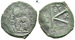 Justin II and Sophia AD 565-578. Thessalonica. Half follis Æ