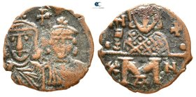 Constantine V Copronymus, with Leo IV and Leo III. AD 741-775. Constantinople. Follis Æ