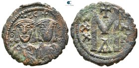 Leo V and Constantine AD 813-820. Constantinople. Follis Æ