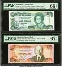 Bahamas Central Bank 1; 5 Dollars 1974 (ND 1992); 1974 (ND 1995) Pick 51; 52 Two Examples PMG Gem Uncirculated 66 EPQ; Superb Gem Unc 67 EPQ.   HID098...