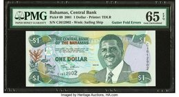 Gutter Fold Errors Bahamas Central Bank 1 Dollar 2001 Pick 69 PMG Gem Uncirculated 65 EPQ.   HID09801242017