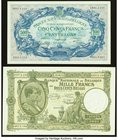 Belgium Banque Nationale de Belgique 500 Francs-100 Belgas 29.9.1943 Pick 109; 1000 Francs-200 Belgas 8.2.1944 Pick 110 Choice About Uncirculated or B...