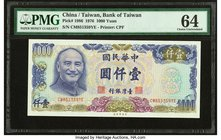 China Bank of Taiwan 1000 Yuan 1976 Pick 1986 PMG Choice Uncirculated 64. Pinholes.  HID09801242017