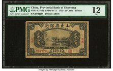China Provincial Bank of Shantung- Tsinan 20 Cents 1925 Pick S2755a PMG Fine 12. Foreign substance.  HID09801242017
