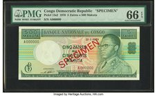 Congo, Democratic Republic Banque Nationale du Congo 5 Zaires = 500 Makuta 21.1.1970 Pick 13s2 Specimen PMG Gem Uncirculated 66 EPQ.   HID09801242017