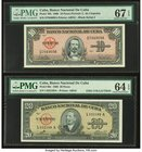 Cuba Banco Nacional de Cuba 10; 20 Pesos 1960 Pick 79b; 80c Two Examples PMG Superb Gem Unc 67 EPQ; Choice Uncirculated 64 EPQ.   HID09801242017