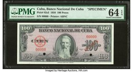 Cuba Banco Nacional de Cuba 100 Pesos 1958 Pick 82s3 Specimen PMG Choice Uncirculated 64 EPQ. Two POCs.  HID09801242017