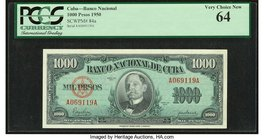Cuba Banco Nacional de Cuba 1000 Pesos 1950 Pick 84 PCGS Very Choice New 64.   HID09801242017