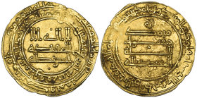 ABBASID, AL-MU'TADID (279-289h) Dinar, al-Rafiqa 289h Obverse field: small pellets above and below Weight: 2.44g Reference: cf Bernardi 211Hn (date no...