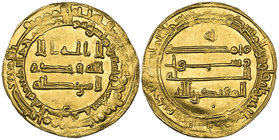 ABBASID, AL-MUQTADIR (295-320h) Dinar, Mah al-Kufa 296h Weight: 4.17g Reference: cf Bernardi 237Mr (date not listed). Scrape on obverse, some weak str...