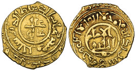 BURID, TEMP ABAQ (534-549h) Quarter-dinar, mint and date off flan Obverse: In inner margin: 'ayad al-din Sanjar wa Mas 'ud Reverse: In centre: citing ...