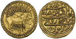 MUGHAL, JAHANGIR (1014-1037h) Restrike Gold muhur, Agra 1028h / regnal year 14 / year 6 Obverse: Leo standing right with left forepaw raised, radiant ...