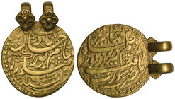 MUGHAL, JAHANGIR (1014-1037h) AND NUR JAHAN Gold muhur, Surat 1033h / regnal year 19 Obverse: citing Jahangir, date and regnal year below Reverse: cit...