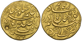 MUGHAL, JAHANGIR (1014-1037h) AND NUR JAHAN Gold muhur, Agra 1034h / regnal year 20 Obverse: citing Jahangir, regnal year above and date below Reverse...