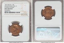 Pedro II copper Pattern 10 Reis 1864 UNC Details (Cleaned) Brown NGC, Bentes-E49.12. Mislabeled on the holder as Bentes-E50.12. We note that this lot ...