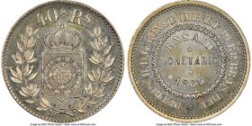 Pedro II copper-nickel Pattern 40 Reis 1863 MS66 NGC, KM-Pn110, Bentes-E45.08. Mislabeled on the holder as Bentes-E46.08. We note that this lot has a ...