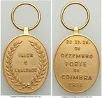 "Pedro II gold ""Coimbra Fort"" Decoration 1864 UNC (Cleaned), Meili-122, Ross BR-13. 25x20mm. 12.71gm. With suspension loop. From the Dresden Collection..."
