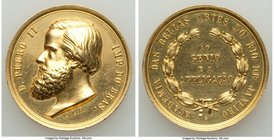 "Pedro II gold ""Academy of Arts"" Award Medal ND (1881) Prooflike (Cleaned), Rio de Janeiro mint, VC-73, Meili-167. 27mm. 13.97gm. From the Dresden Coll..."