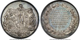 "Pedro II silver ""Asym of Mercy"" Medal 1889 MS62 NGC, Cornucopia privy mark on edge. 41mm. From the Dresden Collection of Hispanic and Brazilian Procla..."