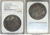 Charles IV silver Proclamation Medal 1789 AU Details (Edge Damage) NGC, Fonrobert-9807. 43mm. From the Dresden Collection of Hispanic and Brazilian Pr...