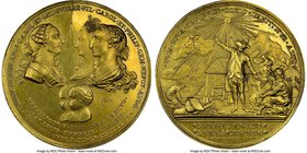 "Charles III gilt-bronze ""Birth of Carlos & Felipe"" Medal 1784 MS63 NGC, Grove-K-80b. 60mm. From the Dresden Collection of Hispanic and Brazilian Procl..."