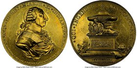 "Charles III gilt-bronze ""San Carlos Academy"" Medal 1788 MS62 NGC, Grove-K-84b. 64mm. From the Dresden Collection of Hispanic and Brazilian Proclamatio..."